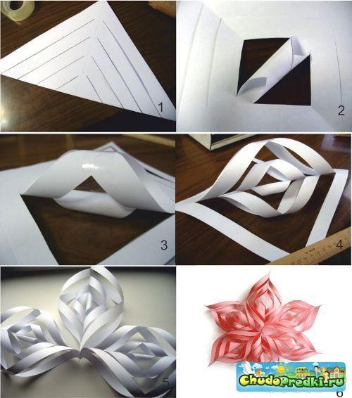 Объемные снежинки из бумаги своими руками по